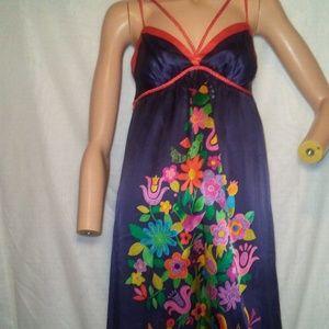Voom Blue Floral Empire Waist Silk Party Dress S